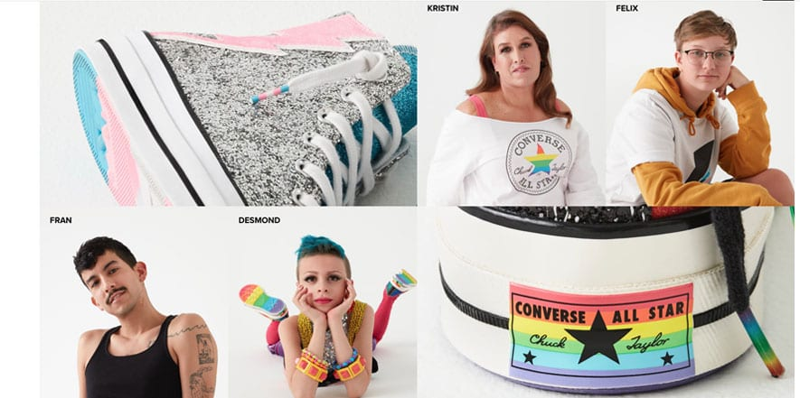 Screenshot of LGBTQ Converse trainers