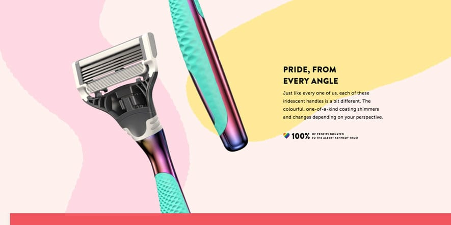Screenshot of Harry's new LGBTQ razor