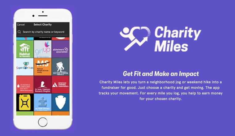 Screenshot of Charity Miles