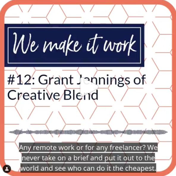 Square text introducing Grant Jennings from Creative Blend on a podcast