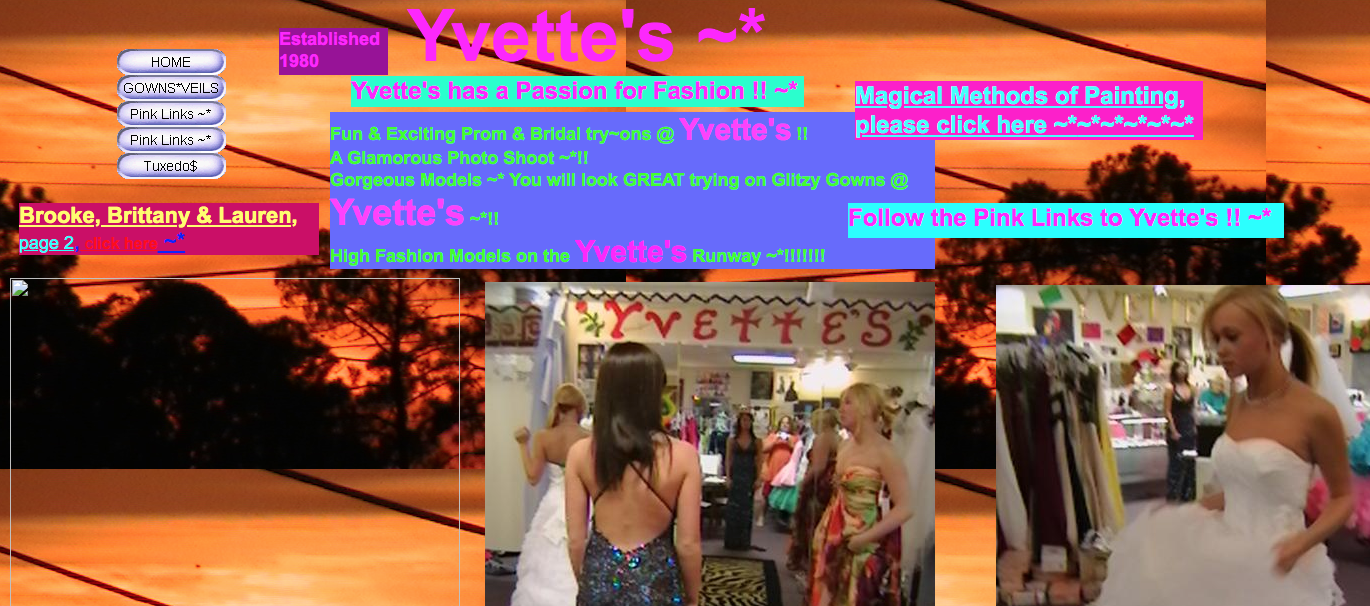 image of a website with neon colours, images and text