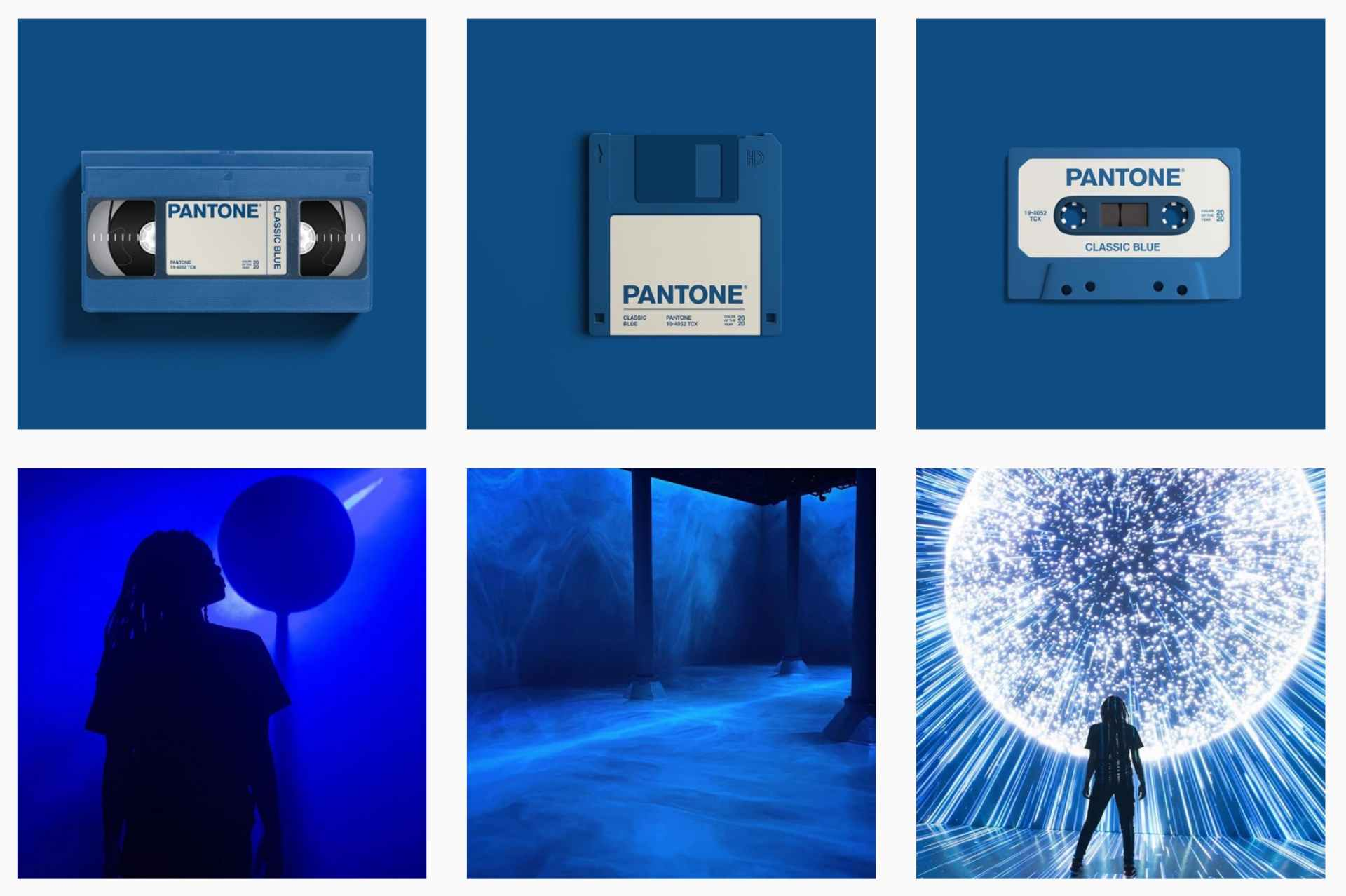 grid with images using pantone blue