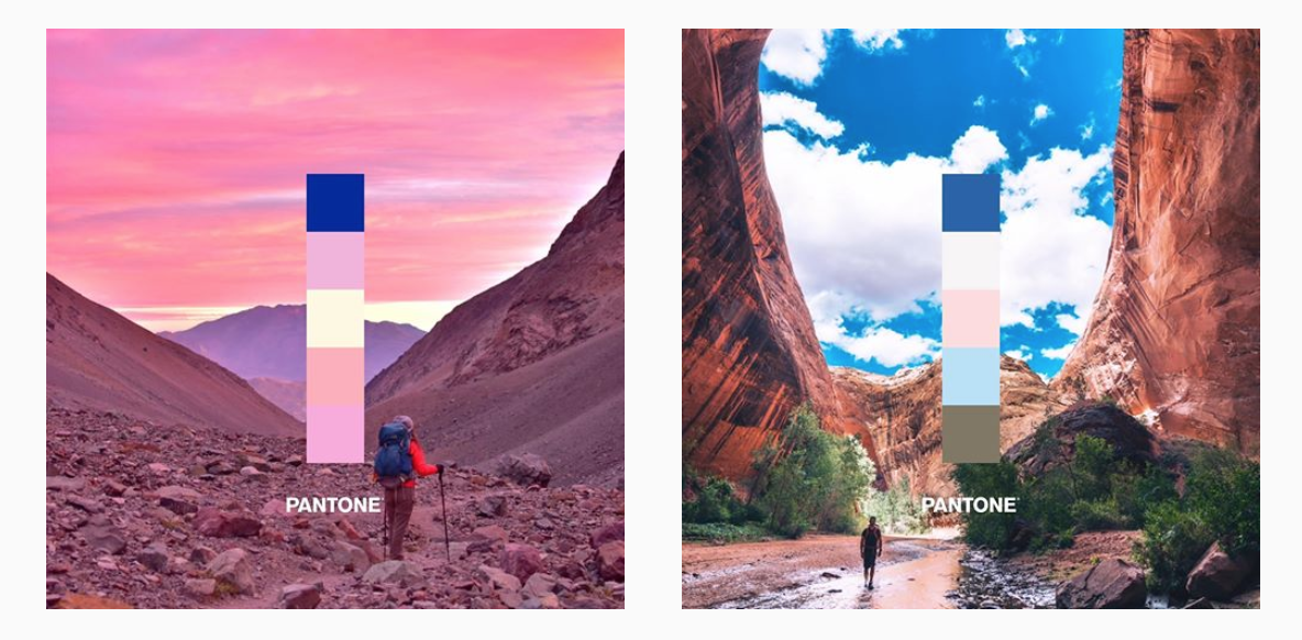 Two photographs of landscapes that feature pantone 2020
