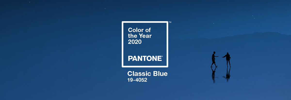 banner with blue pantone of the year 2020