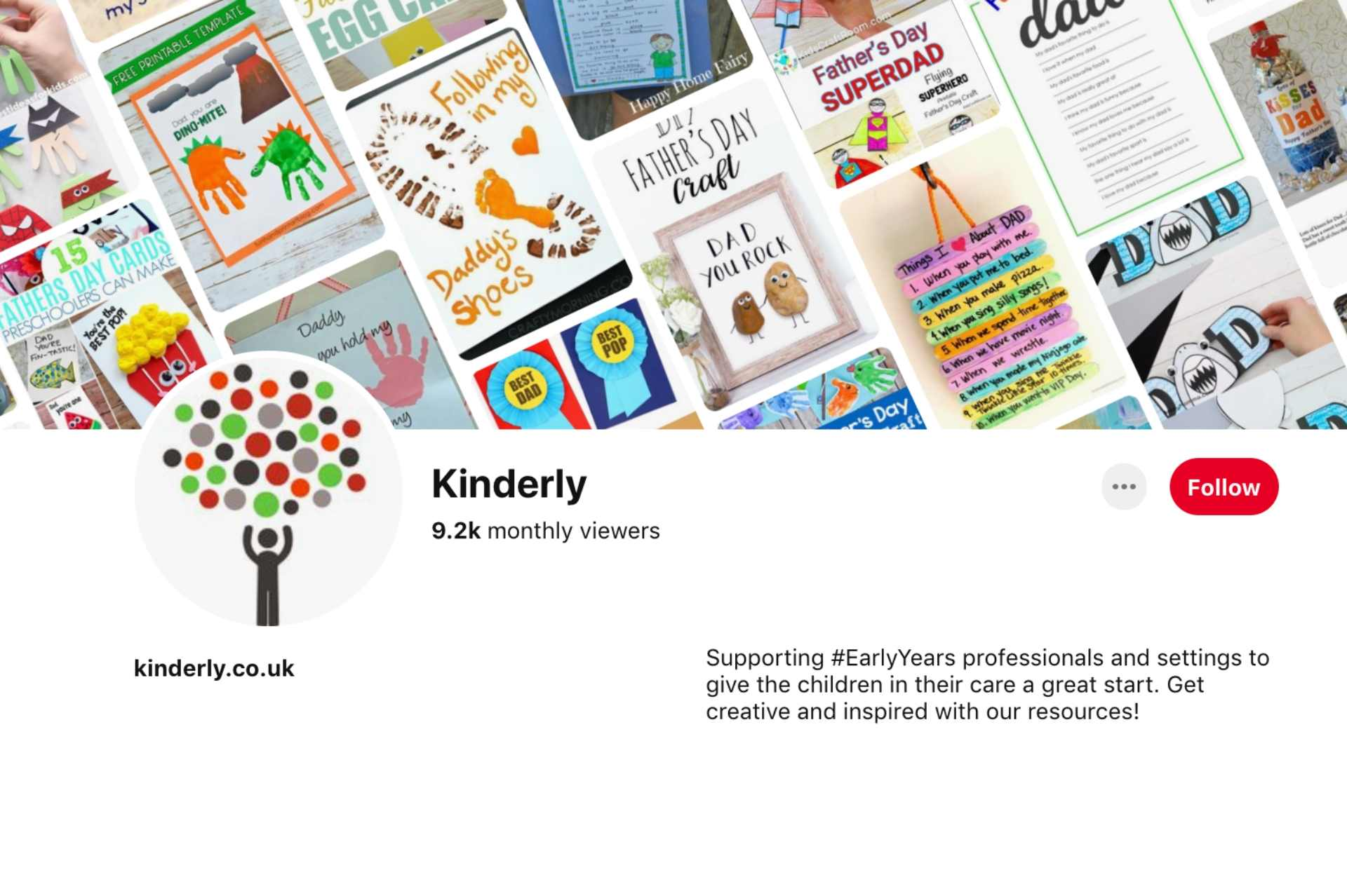 screenshot of Kinderly's pinterest profile