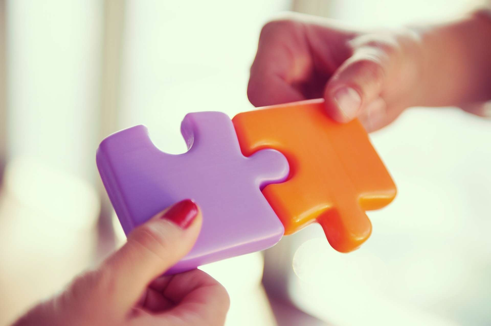 two hands holding a jigsaw puzzle piece
