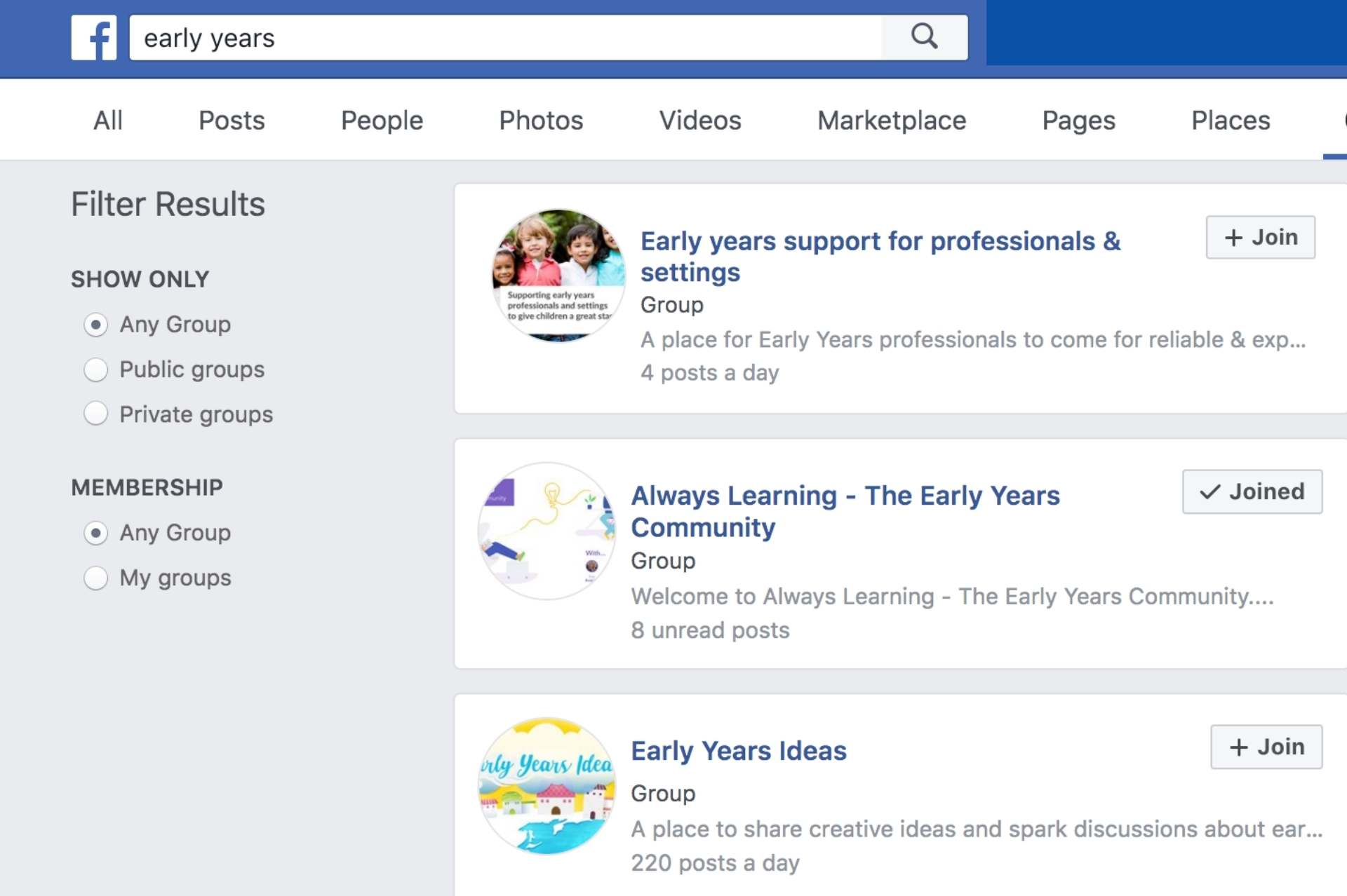 overview of early years fb groups
