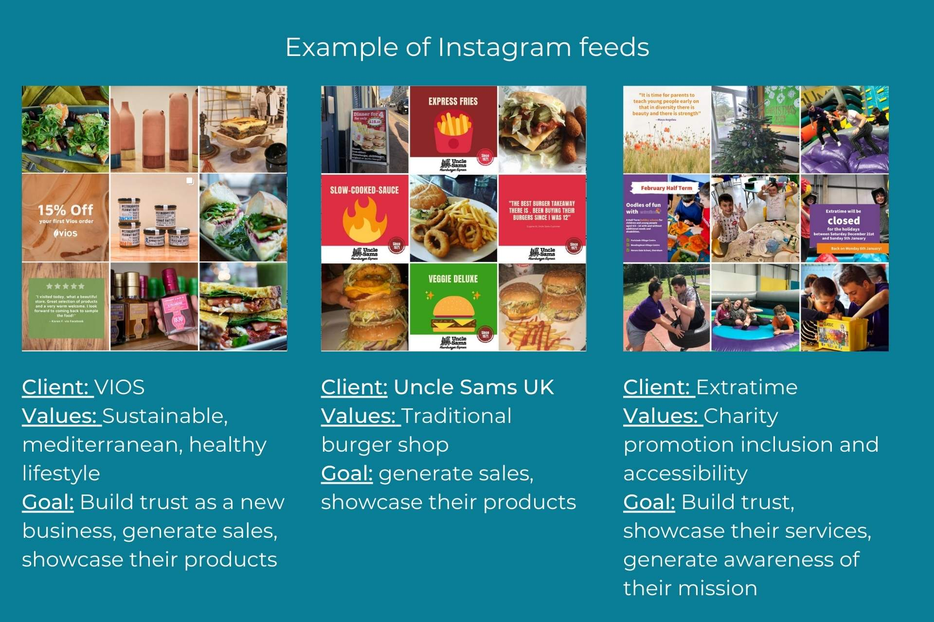 examples of instagram feeds