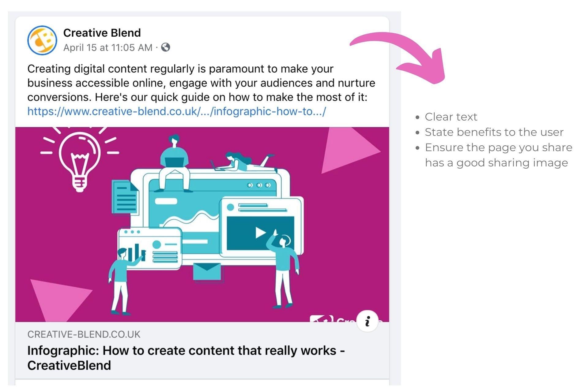 screenshot of creative blend's facebook